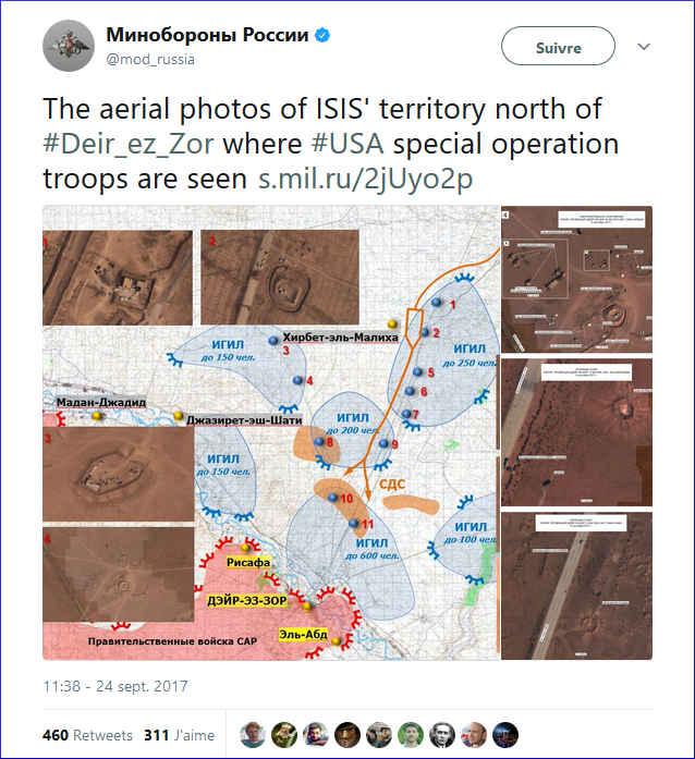 Tweet ministère russe de la Défense