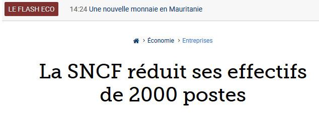 SNCF réduction d'effectifs