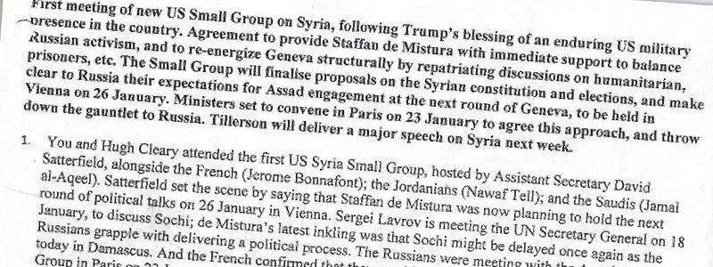 Leak : un câble diplomatique dévoile la « stratégie occidentale » de partition de la Syrie