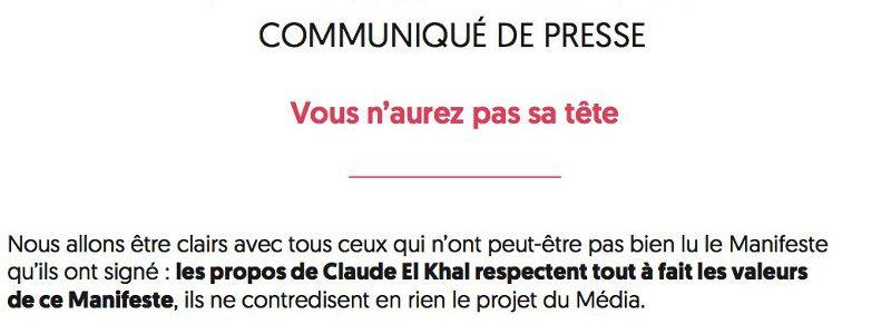 Le Média : vous n'aurez pas la tête de Claude El Khal