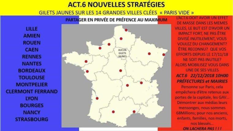 LES LUTTES EN FRANCE vers la restructuration politique (Gilets jaunes) : les débats continués 17 déc.- mars 2019 Acte-VI-nouvelles-strat%C3%A9gies-760x428