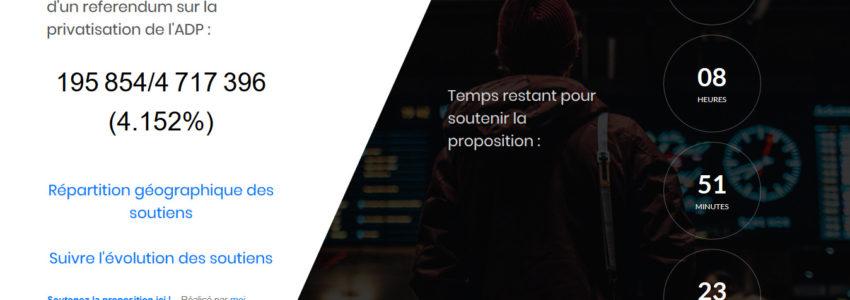 ADPrip : le compteur génial des soutiens du projet de loi référendaire