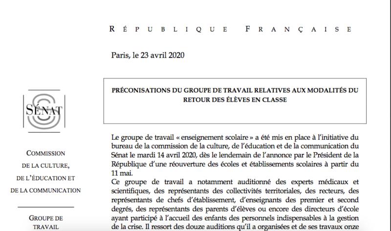Reprise scolaire du 11 mai : le rapport cinglant d'un groupe de travail du Sénat