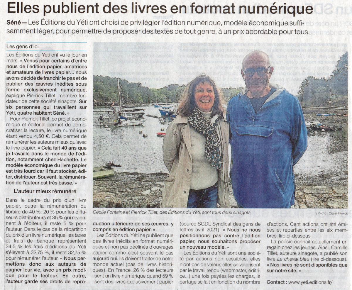 Éditions du Yéti : Cécile Fontaine (attachée de presse), Pierrick Tillet (éditeur)